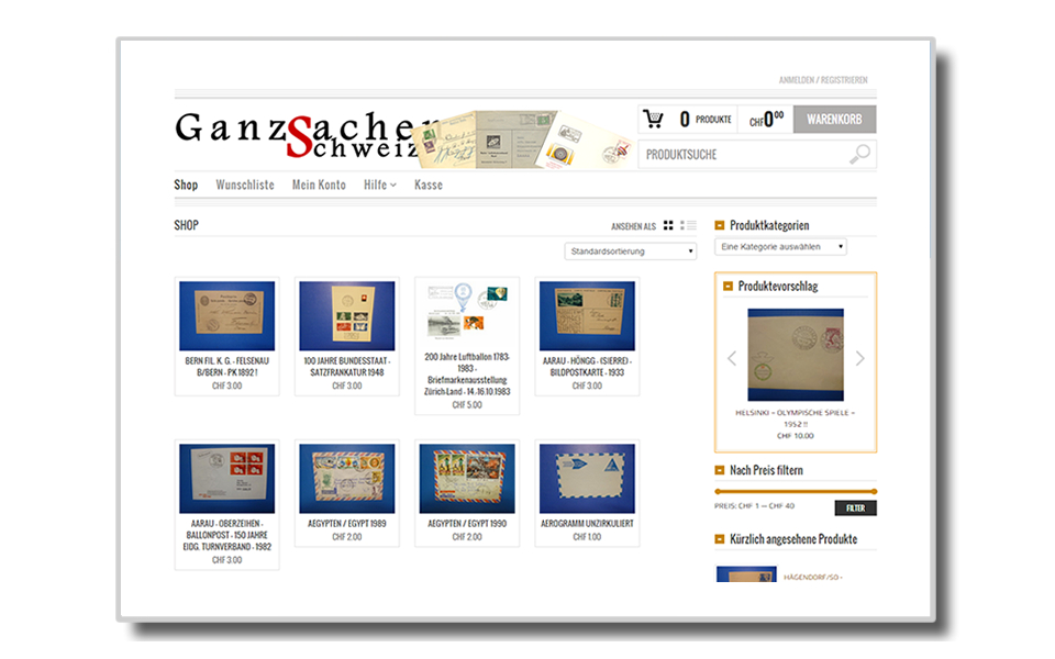 Ganzsachen-Schweiz.ch | Webshop | Onlinshop