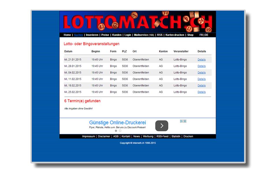 Lottomatch.ch | Bingo | Eventkalender | Veranstaltungskalender